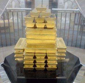 Пирамида из золотых слитков в Музее Банка Англии