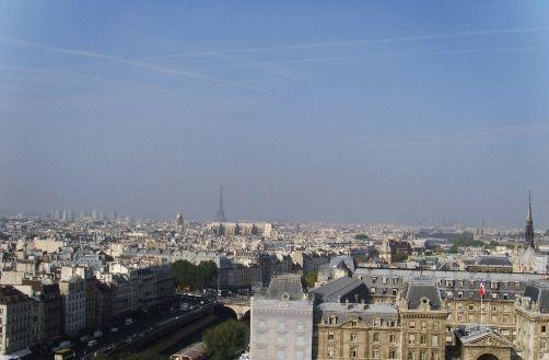 Фото - вид с Собора Нотр-Дам на Эйфелеву башню