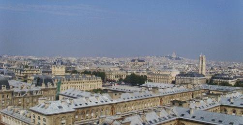Фото правее - вид с Собора Нотр-Дам на Париж