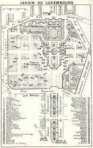 Люксембургский сад план, где статуи