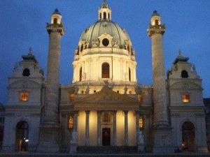 karlskirche церковь Карлскирхе в Вене фото вечером