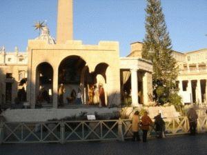 рождественский вертеп на площади у собора петра в риме фото