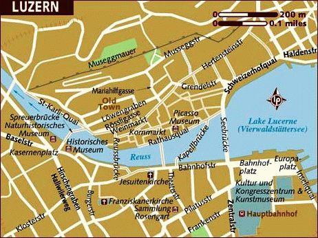 карта город люцерн швейцария картинка