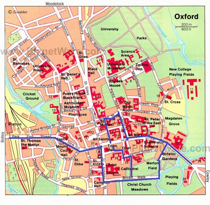 маршрут по Оксфорду карта