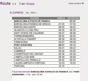 расписание поезда из Барселоны в Порт Авентуру фото