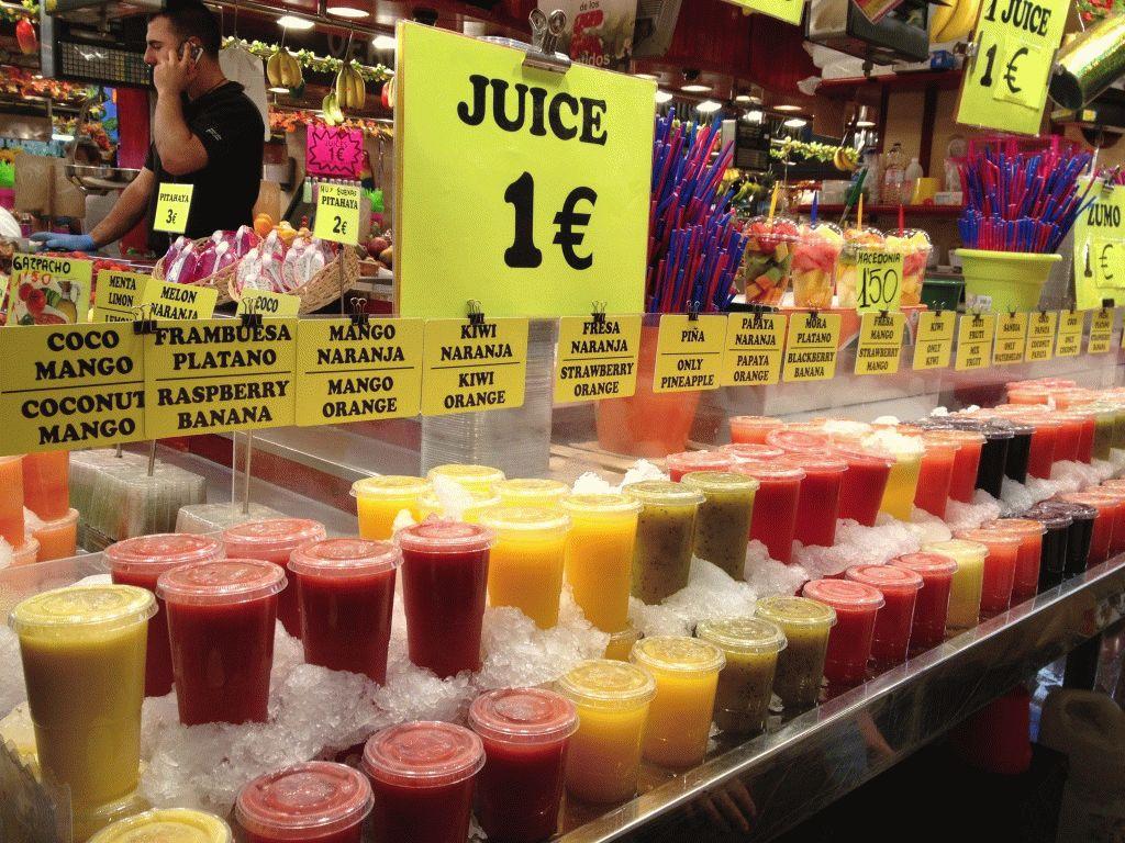 соки 1 евро рынок Бокерия Барселона фото