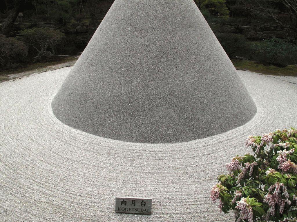 конус сад камней Гинкакудзи фото Киото