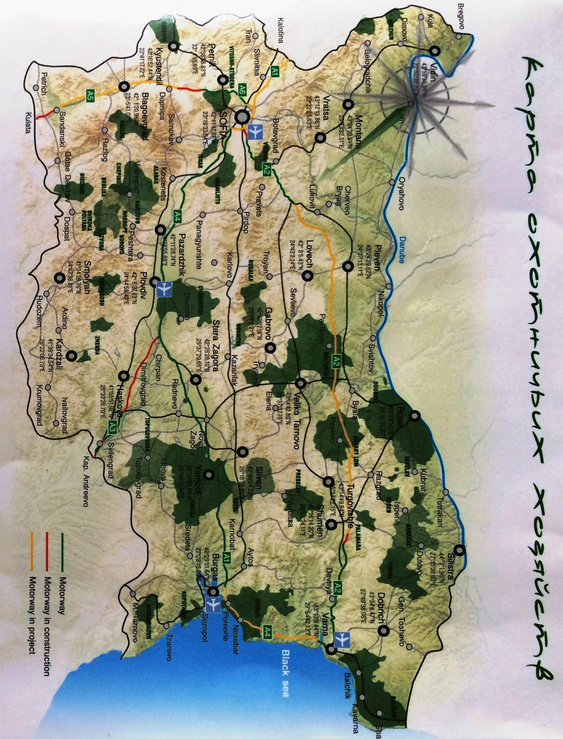 Болгария карта охотничьих хозяйств