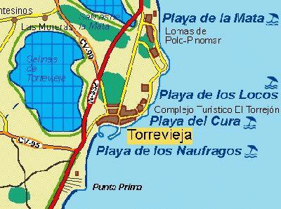 торревьеха пляжи карта