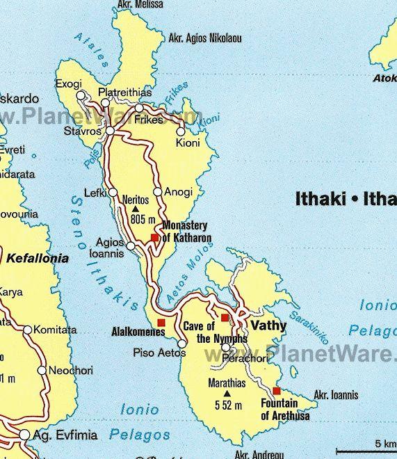 карта итаки, греция