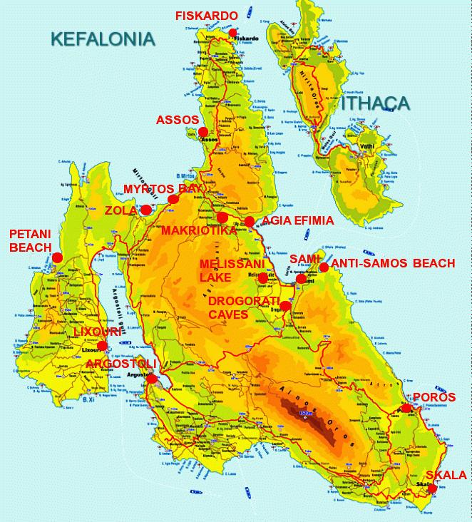 Карта Кефалонии