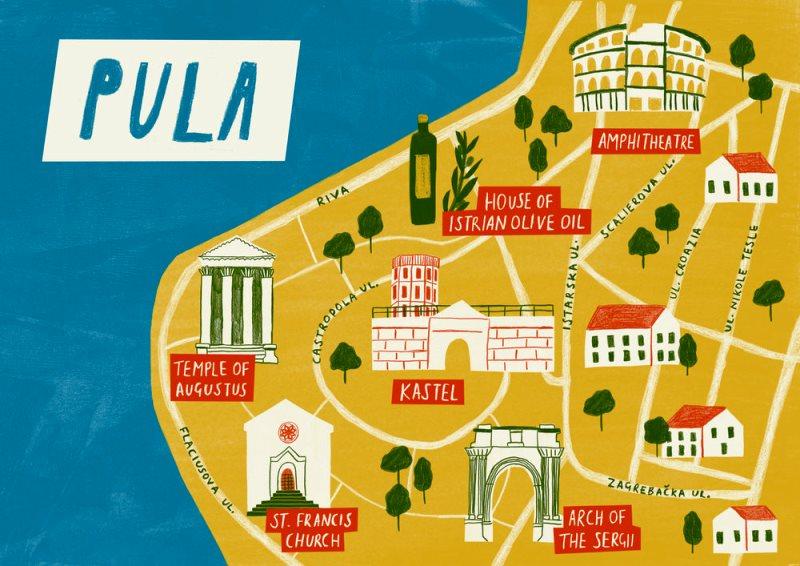 карта достопримечательностей Пулы
