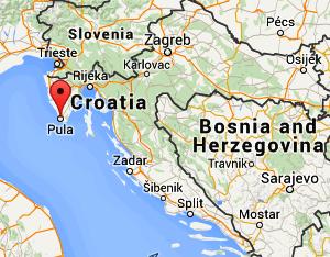 Пула на карте Хорватии